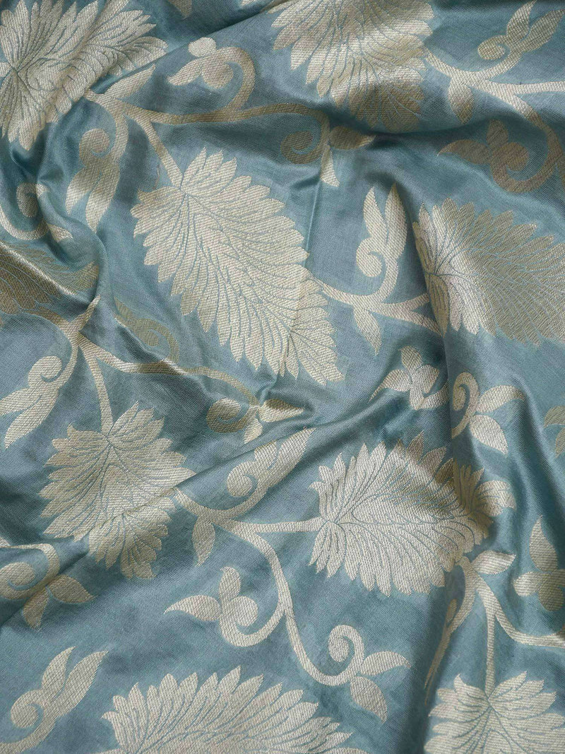 Blueish Grey Color Pure Katan Silk Banarasi Dupatta-Sacred Weaves