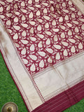 Dark Maroon Color Pure Katan Silk Banarasi Dupatta - Sacred Weaves