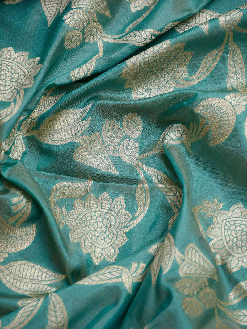 Sea Green Color Pure Katan Silk Banarasi Dupatta-Sacred Weaves