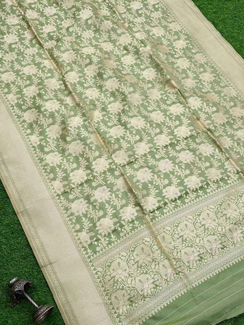 Pista Green Color Pure Katan Silk Banarasi Dupatta-Sacred Weaves