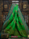 Emerald Green Color Antique Zari Pure Dupion Silk Banarasi Dupatta - Sacred Weaves
