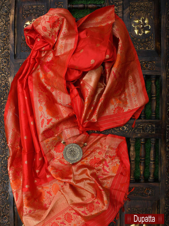 Gorgeous Maroon Color Pure Katan Silk Banarasi Dupatta - Sacred Weaves