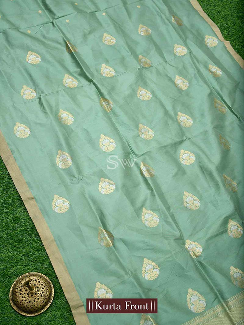 Olive Green Katan Silk Handloom Banarasi Suit - Sacred Weaves