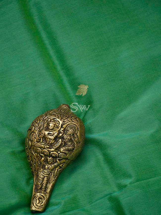 Green Katan Silk Banarasi Handloom Suit - Sacred Weaves