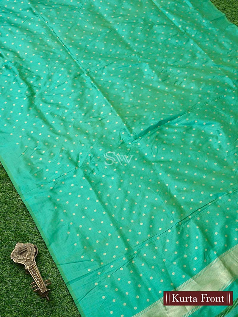 Green Katan Silk Handloom Banarasi Suit - Sacred Weaves