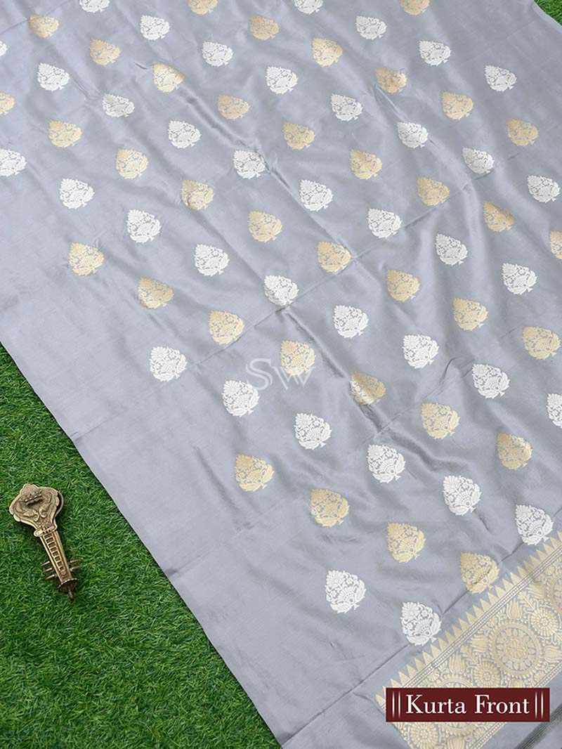 Grey Katan Silk Handloom Banarasi Suit - Sacred Weaves