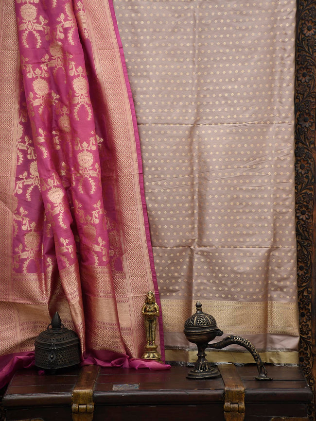 Pastel Brown Katan Silk Banarasi Handloom Suit - Sacred Weaves