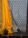 Grey Katan Silk Banarasi Handloom Suit - sacred Weaves
