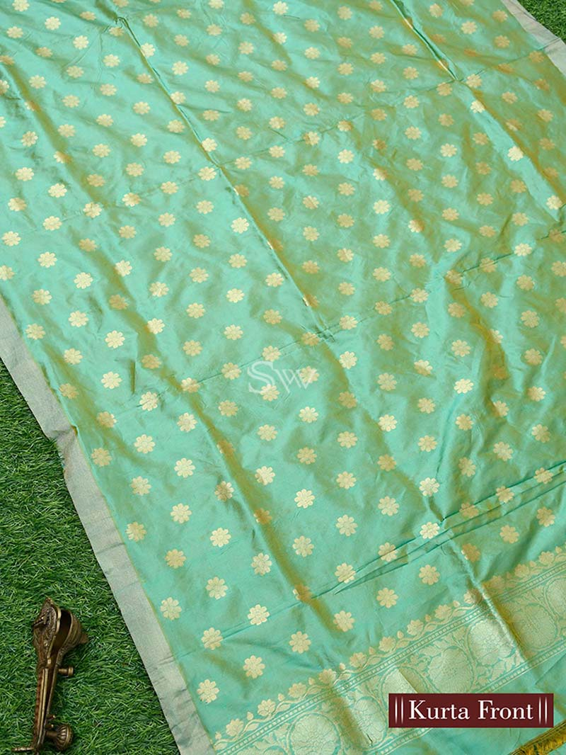 Green Yellow Katan Silk Handloom Banarasi Suit - Sacred Weaves