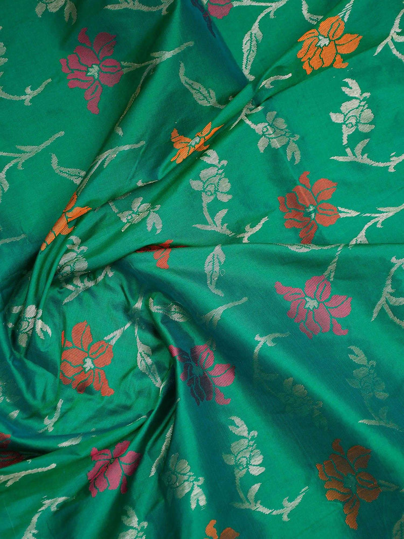 Beautiful Sea Green Color Meenakari Pure Katan Silk Banarasi Dupatta - Sacred Weaves
