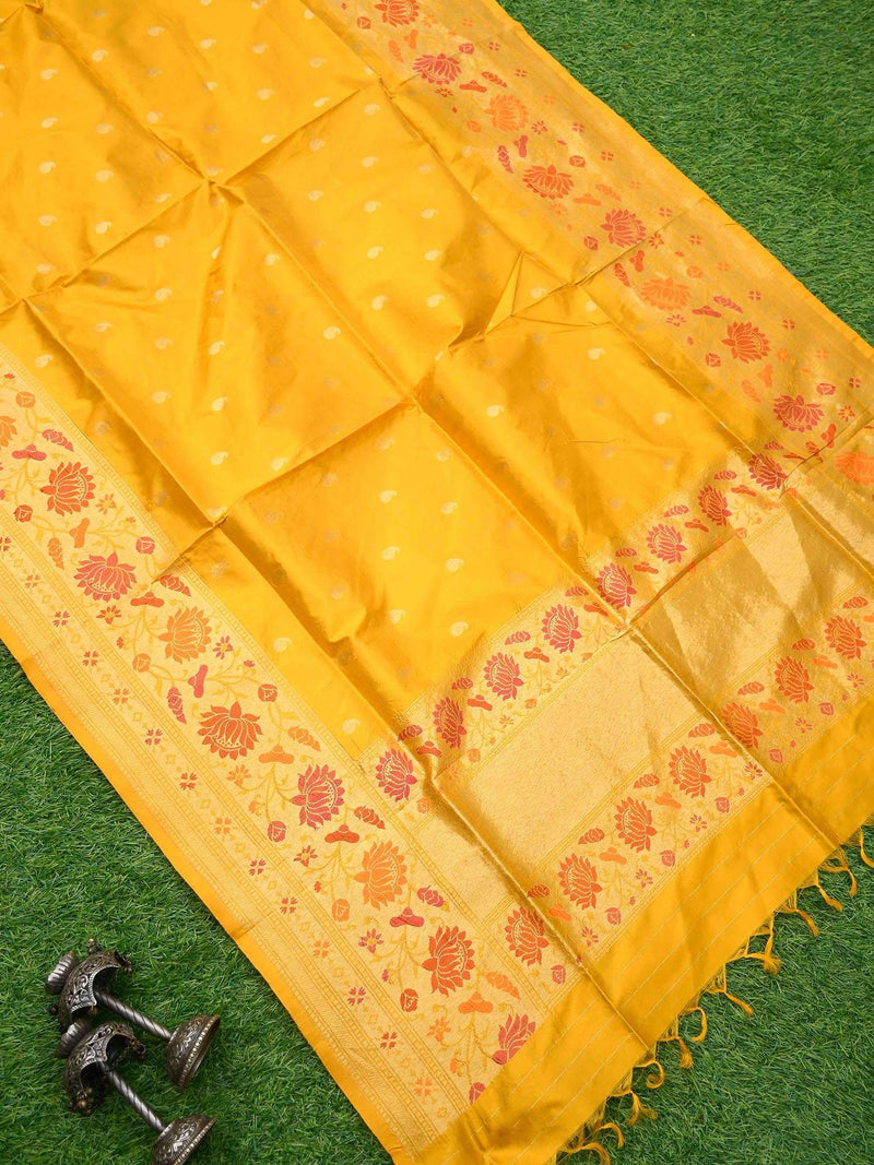 Vivid Yellow Color Gold Zari Border Pure Katan Silk Banarasi Dupatta - Sacred Weaves