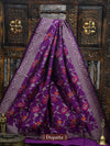 Purple Color Meenakari Pure Katan Silk Banarasi Dupatta - Sacred Weaves