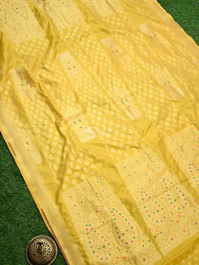 Yellow Color Meenakai Gold Zari Pure Silk Banarasi Lehenga - Sacred Weaves