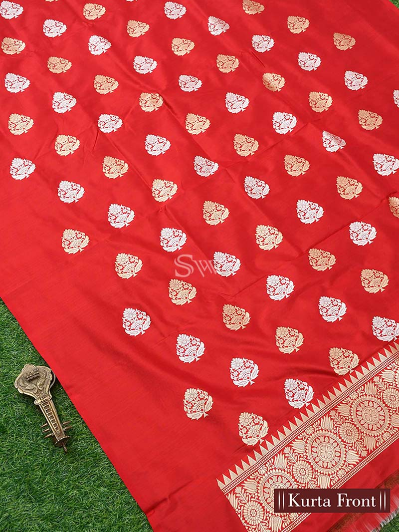 Red Katan Silk Handloom Banarasi Suit - Sacred Weaves