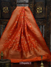 Orange Color Meenakari Pure Katan Silk Banarasi Dupatta - Sacred Weaves