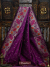 Purple Color Gold Zari Booti Pure Katan Silk Banarasi Dupatta - Sacred Weaves