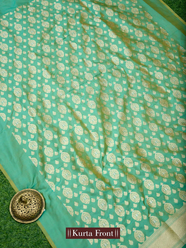 Green Yellow Gold Zari Booti Pure Katan Silk Banarasi Suit - Sacred Weaves