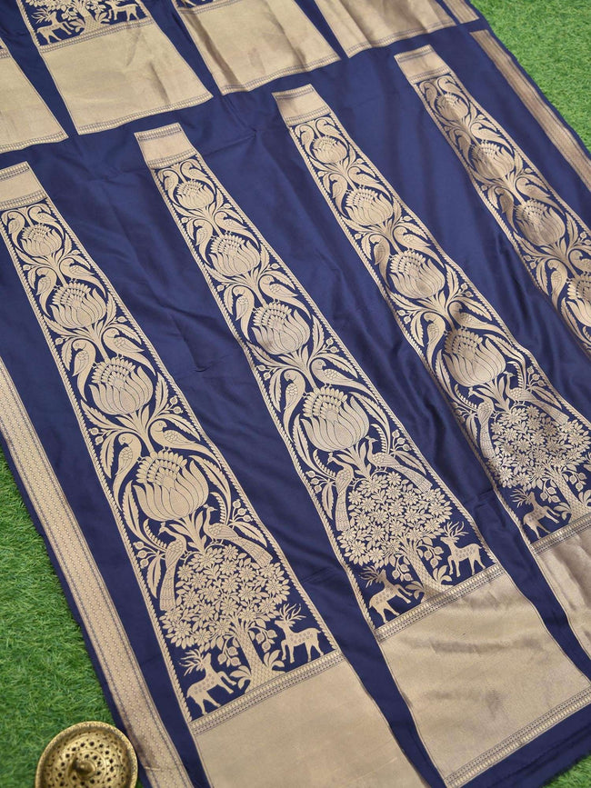 Gorgeous Navy Blue Color Gold Zari Pure Silk Banarasi Lehenga - Sacred Weaves