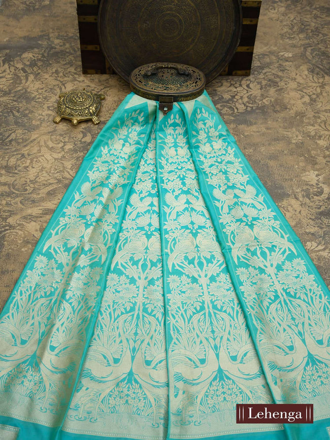 Sea Green Gold Zari Pure Silk Banarasi Lehenga - Sacred Weaves