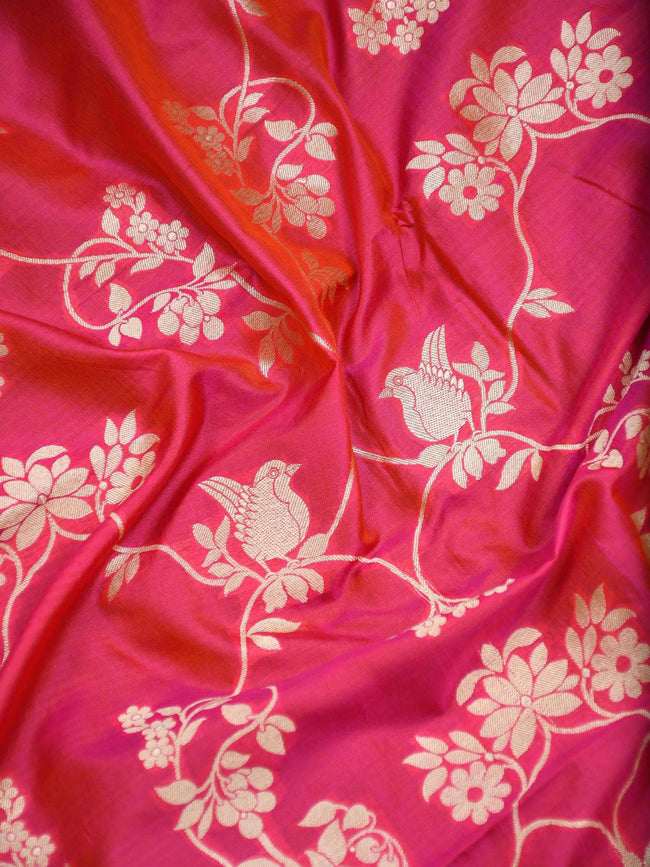 Orange-Pink Dual Color Gold Zari Pure Katan Silk Banarasi Dupatta - Sacred Weaves