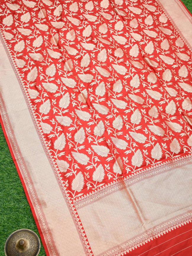 Red Color Pure Katan Silk Banarasi Dupatta - Sacred Weaves
