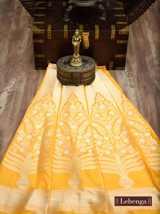 Yellow Color Sona Rupa Zari Pure Silk Banarasi Lehenga - Sacred Weaves