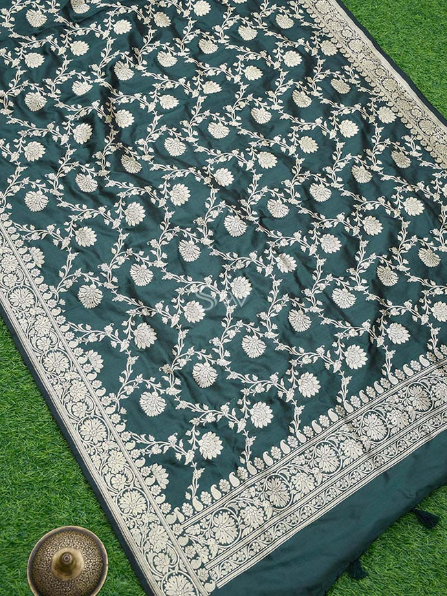 Bottle Green Color Pure Katan Silk Banarasi Dupatta