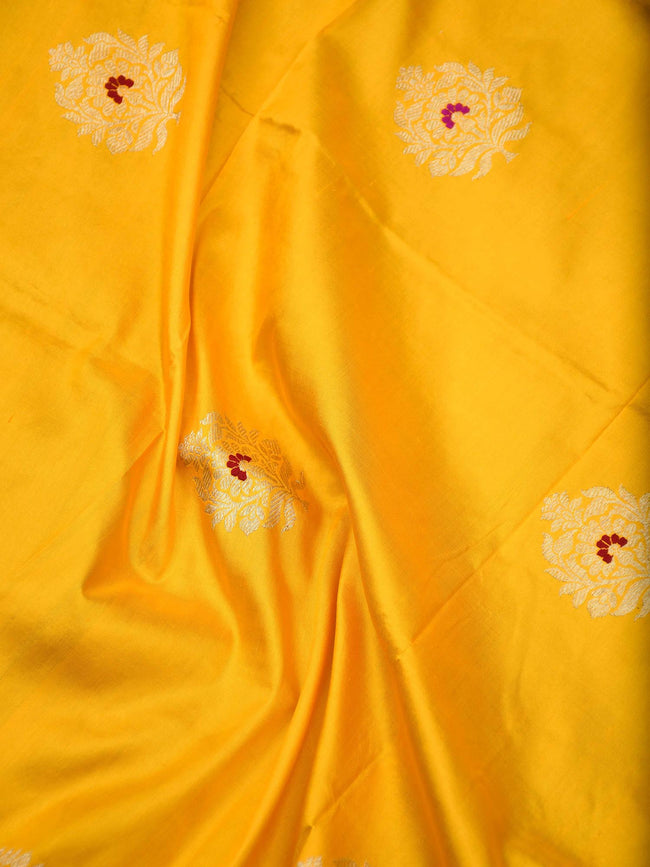 Yellow Color Meenakari Boota Pure Katan Silk Banarasi Dupatta - Sacred Weaves