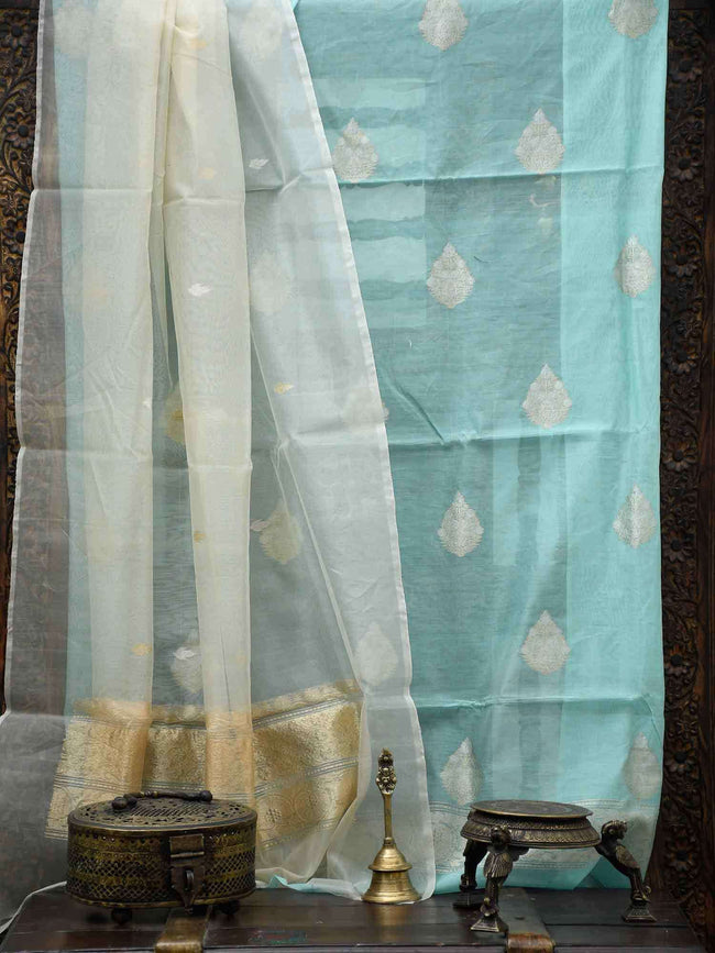 Pastel Mint Green Sona Rupa Zari Booti Pure Chanderi Suit - Sacred Weaves