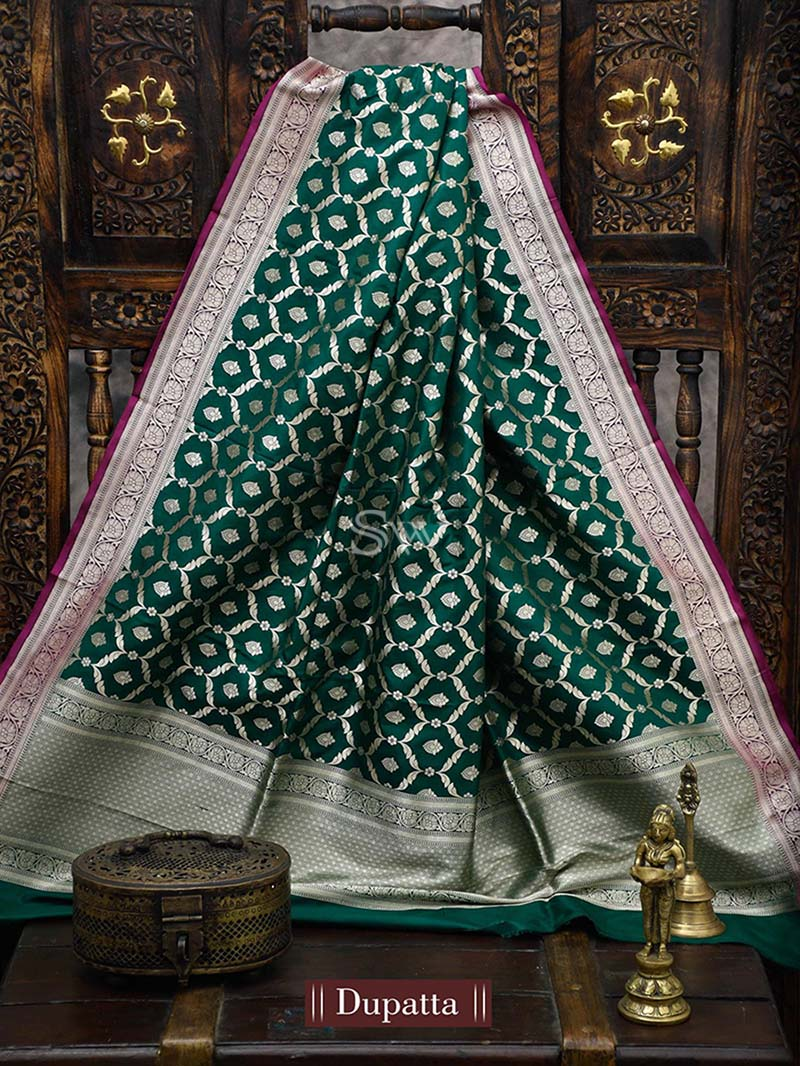 Bottle Green Katan Silk Handloom Banarasi Dupatta - Sacred Weaves