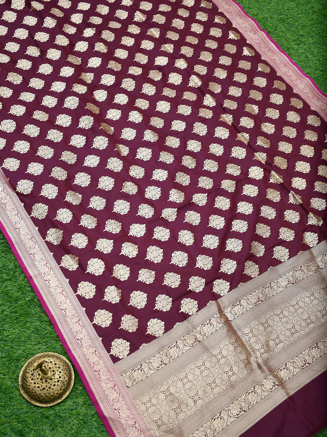 Dark Purple Color Pure Katan Silk Banarasi Dupatta - Sacred Weaves