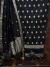 Black Katan Silk Banarasi Handloom Suit - Sacred Weaves