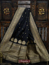 Black Color Gold Zari Booti Pure Katan Silk Banarasi Dupatta - Sacred Weaves
