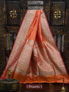 Orange Magenta Dual Gold Zari Pure Katan Silk Banarasi Dupatta - Sacred Weaves