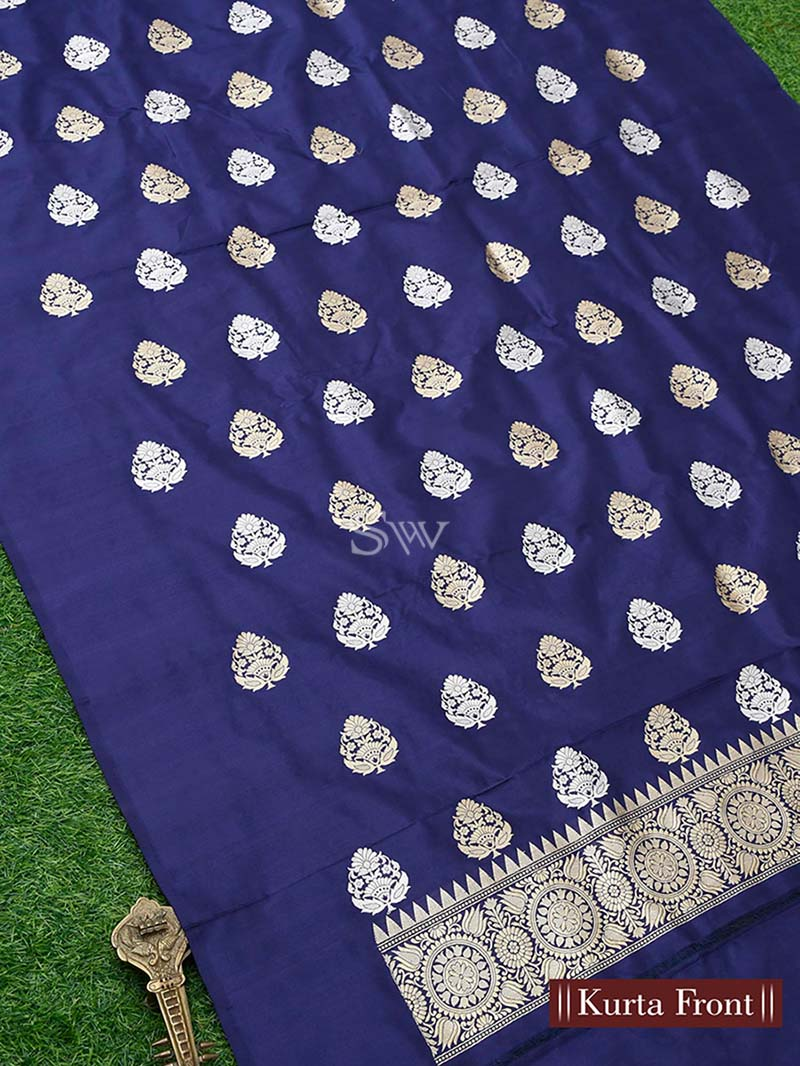 Blue Katan Silk Handloom Banarasi Suit - Sacred Weaves
