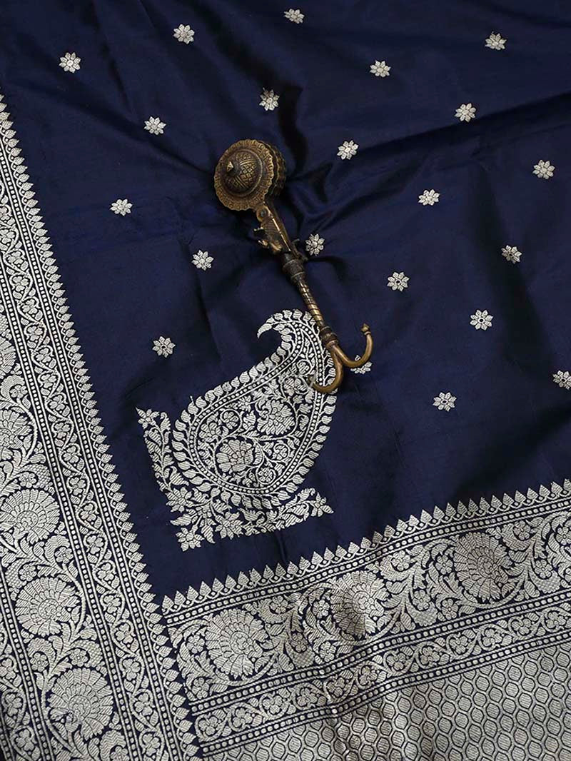 Midnight Blue Katan Silk Handloom Banarasi Dupatta - Sacred Weaves