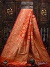 Orange Color Pure Katan Silk Banarasi Dupatta - Sacred Weaves