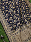 Navy Blue Color Pure Katan Silk Banarasi Dupatta - Sacred Weaves