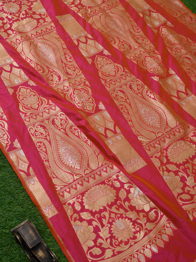 Pink-Orange Banarasi Handloom Lehenga - Sacred Weaves
