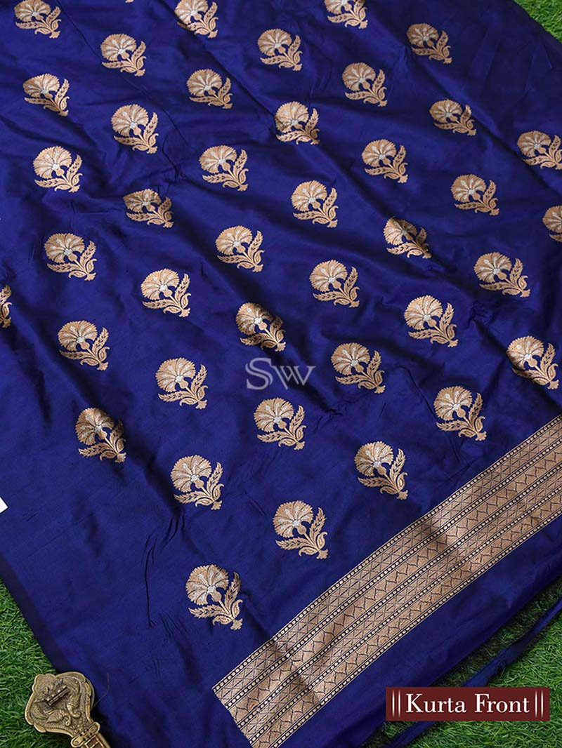 Navy Blue Katan Silk Handloom Banarasi Suit - Sacred Weaves
