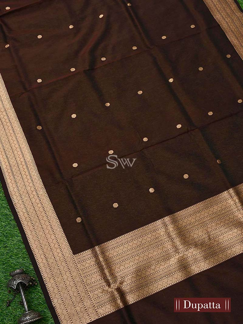 Dark Green Katan Silk Handloom Banarasi Suit - Sacred Weaves