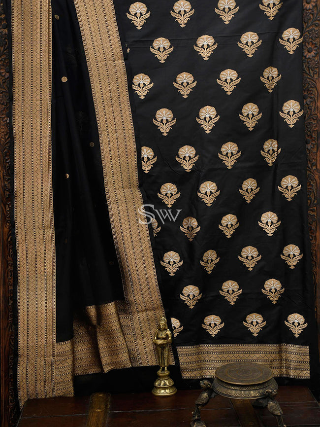 Black Katan Silk Banarasi Handloom Suit