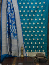 Blue Green Katan Silk Banarasi Handloom Suit - Sacred Weaves