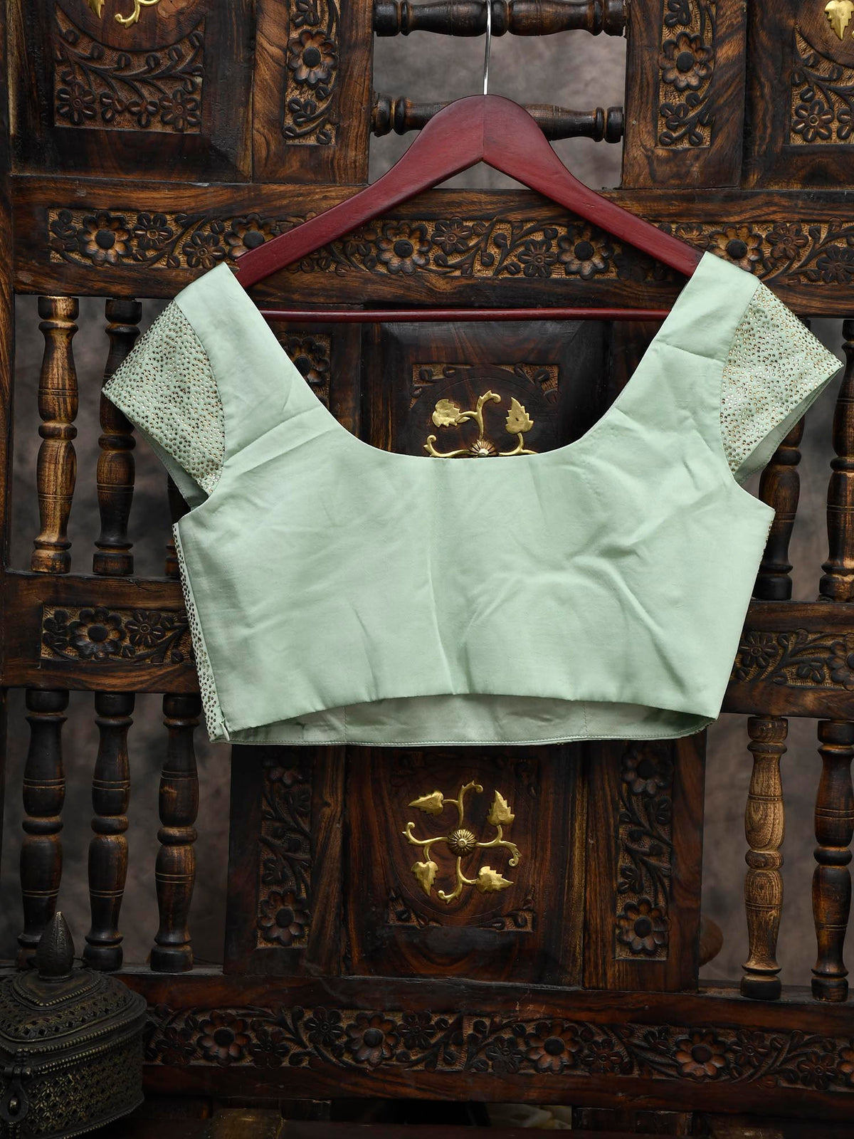 Pastel Green Swarovski Ready-made Blouse - Sacred Weaves