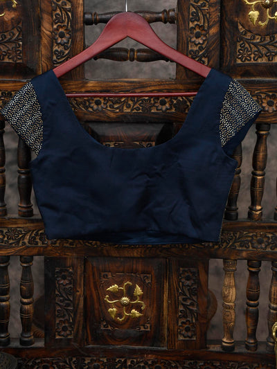 Midnight Blue Swarovski Ready-made Blouse  - Sacred Weaves