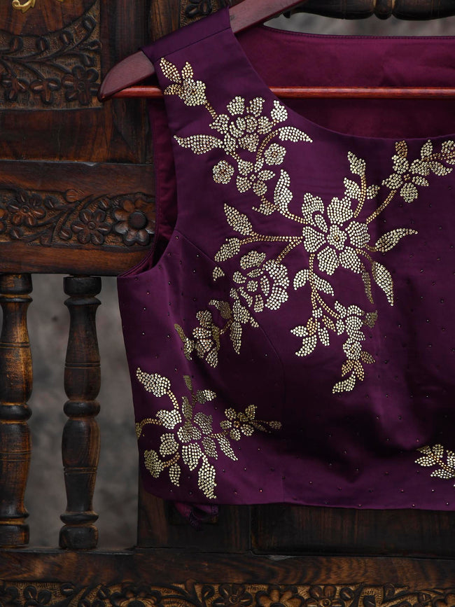 Dark Purple Swarovski Ready-Made Blouse - Sacred Weaves