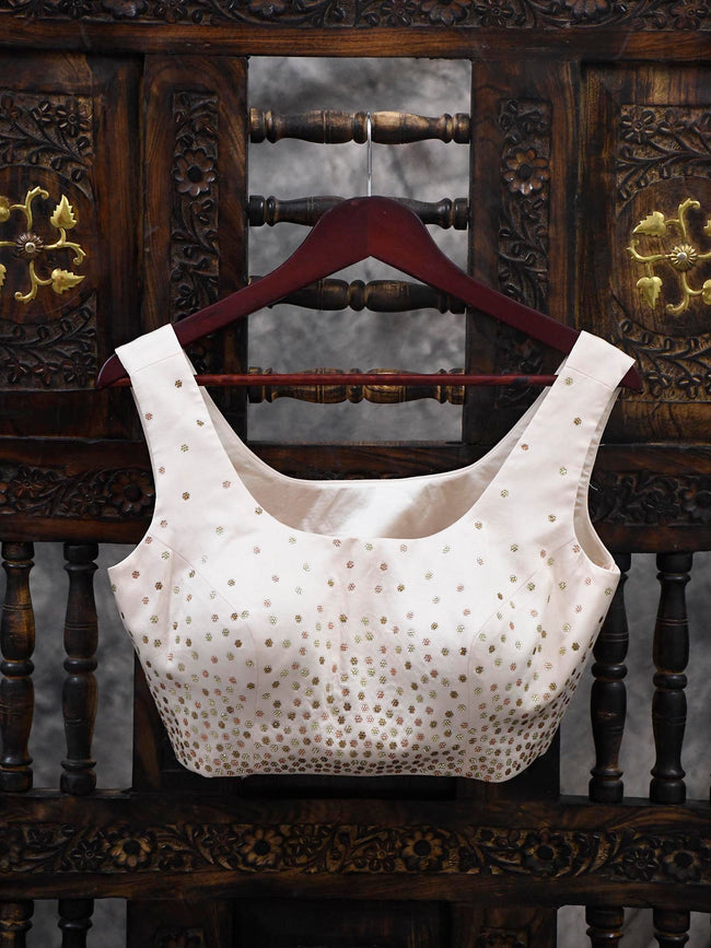 Cream Swarovski Ready-made Blouse