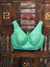 Green Tanchoi Silk Banarasi Blouse With Mask - Sacred Weaves