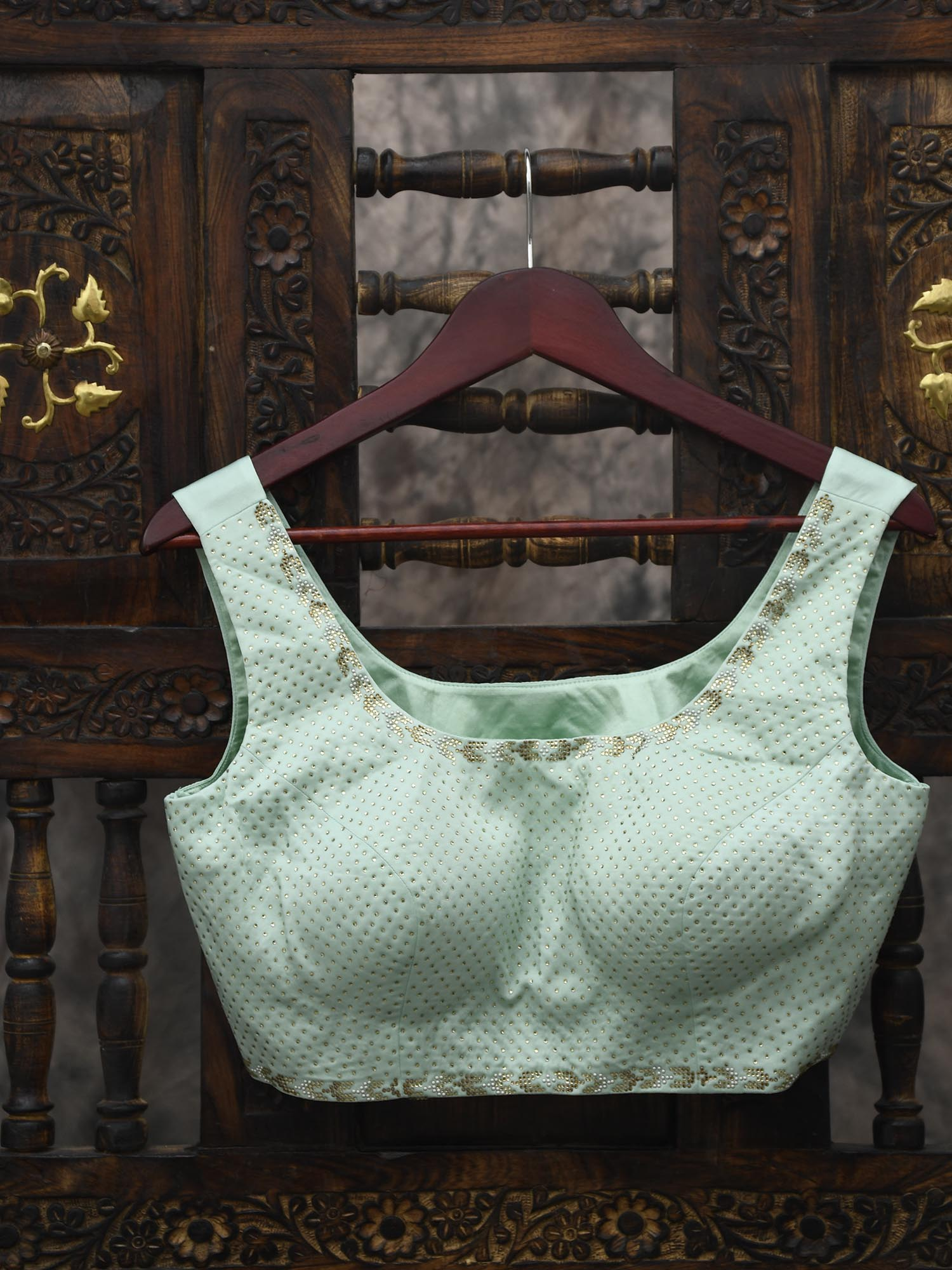 Pastel Mint Green Swarovski Ready-made Blouse - Sacred Weaves