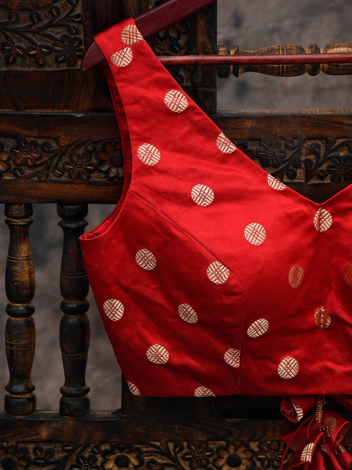 Red Satin Silk Banarasi Blouse - Sacred Weaves